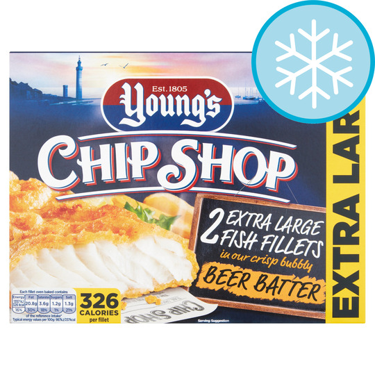 Youngs Chip Shop Extra Large Fish Fillets Beer Batter 300G