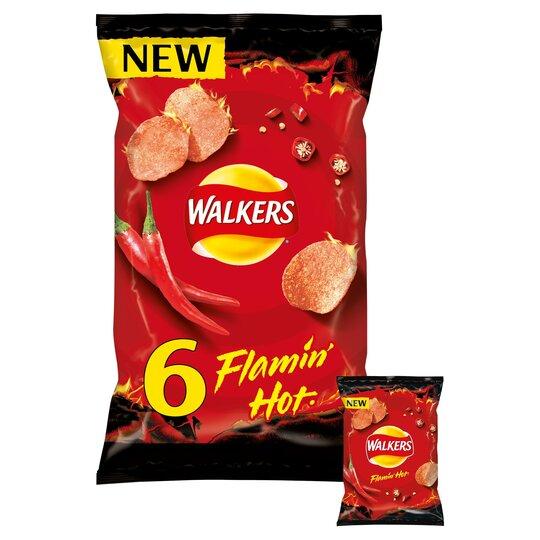 image 1 of Walkers Flamin Hot Crisps 6X25g