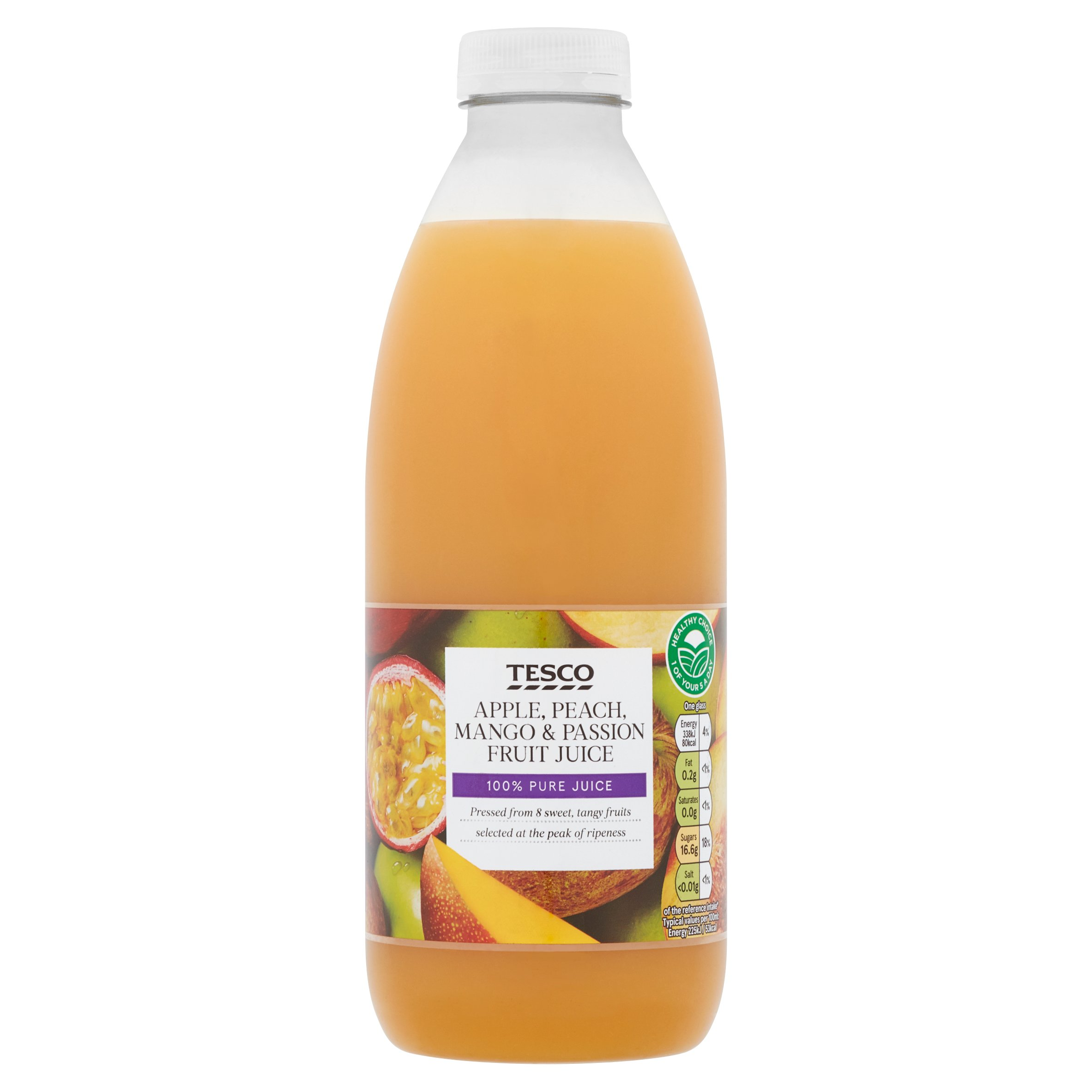 Tesco Apple Mango Passion Fruit & Peach Juice Not From Concentrate 1L