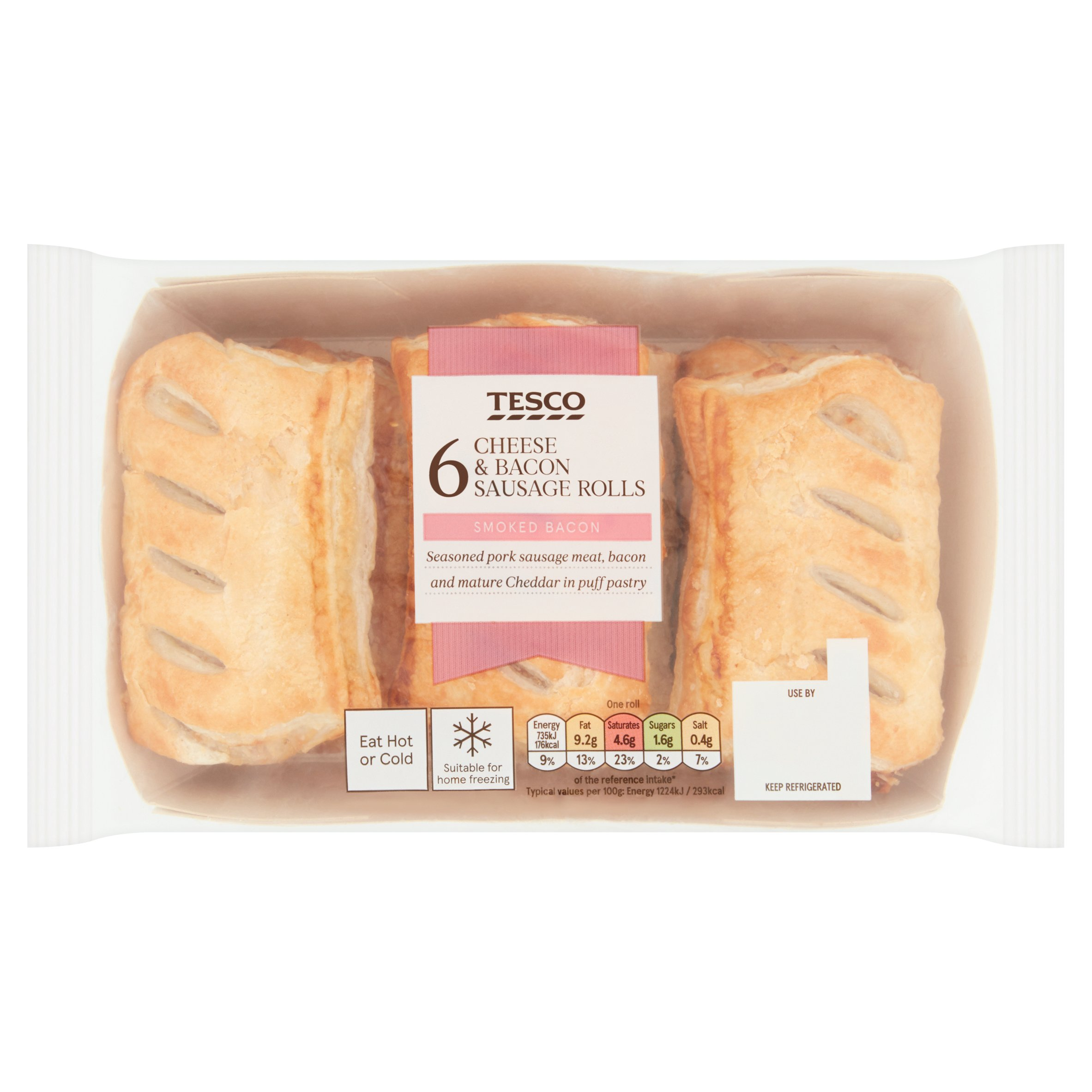 Tesco 6 Cheese & Bacon Rolls 360G