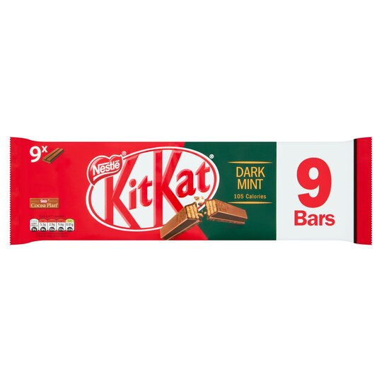 image 1 of Kit Kat 2 Finger Dark Mint Biscuits 9 Pack 186.3G