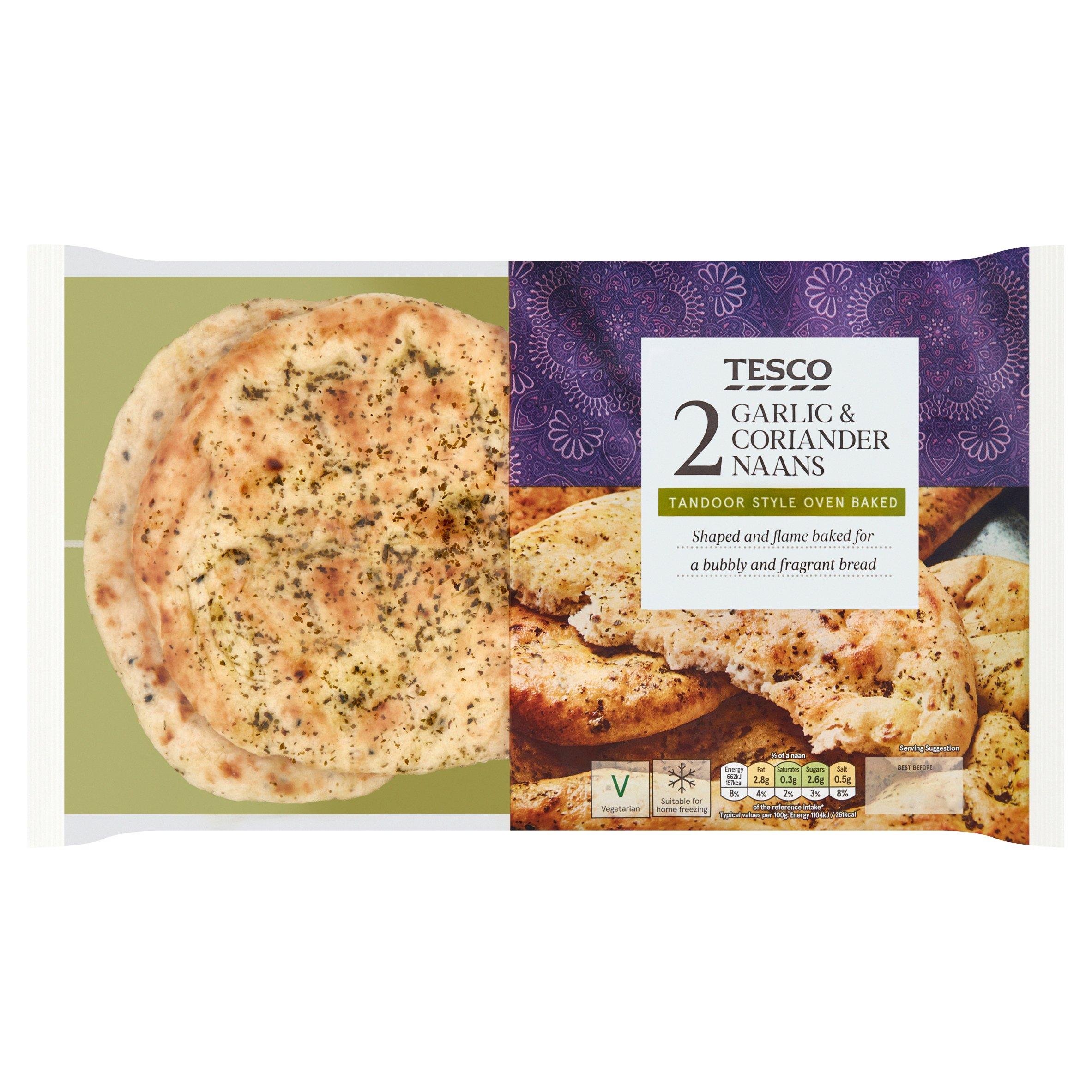 Tesco 2 Garlic & Coriander Naan