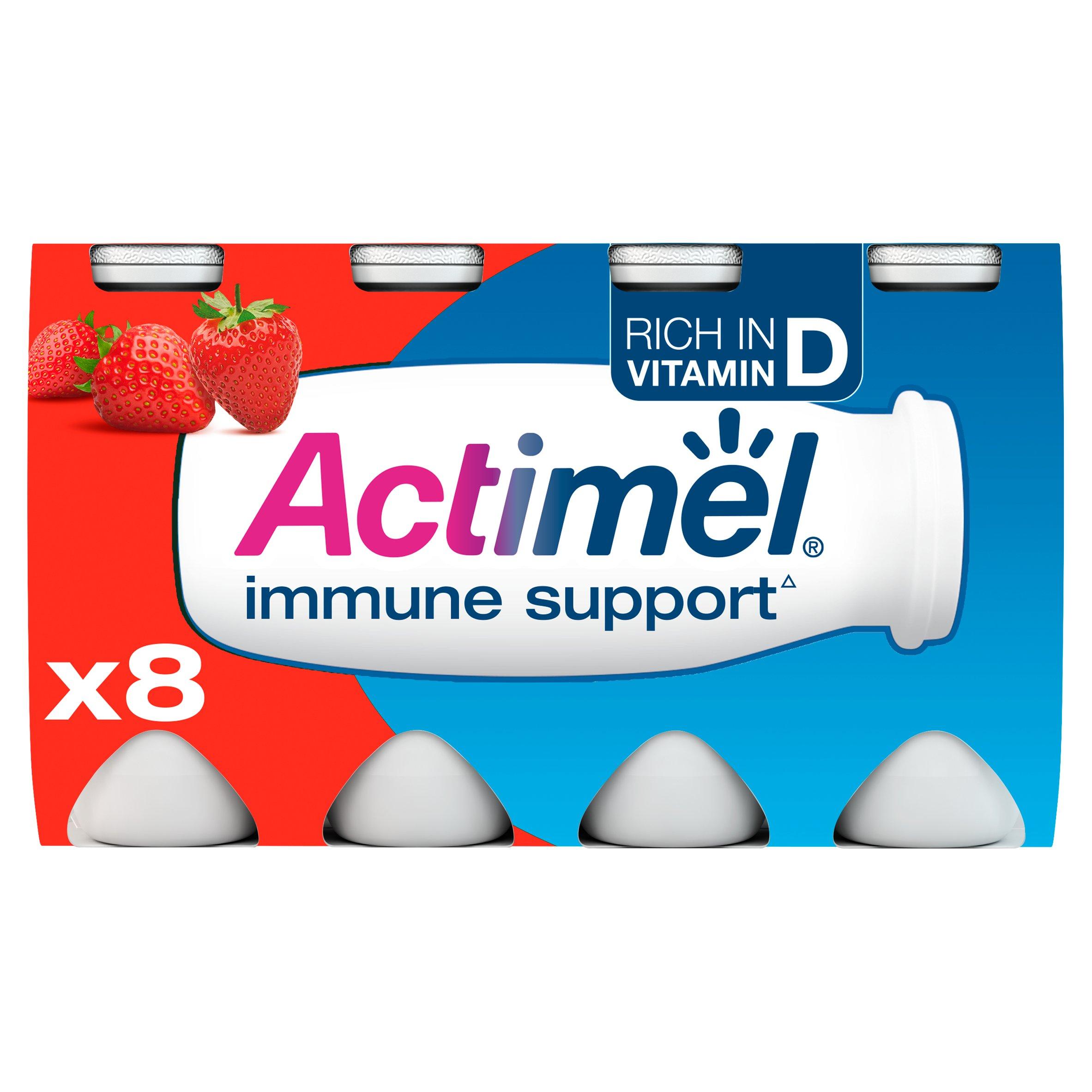 Danone Actimel Strawberry Drink 8X100g