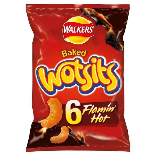 Walkers Wotsits Flamin Hot Snacks 6 X 16G
