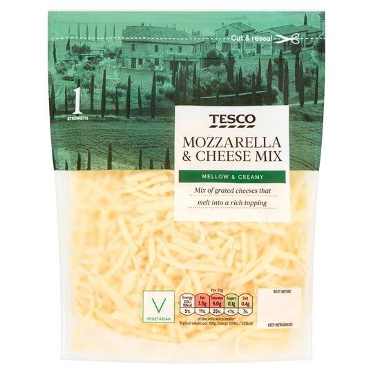 Tesco Grated Mozzarella Cheese Mix 200g Tesco Groceries