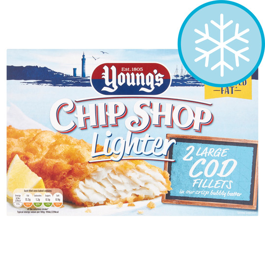 Youngs Chip Shop Lighter 2 Large Cod Fillets 220G