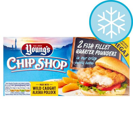 Youngs Chip Shop 2 Fish Fillet Quarter Pounders 227G