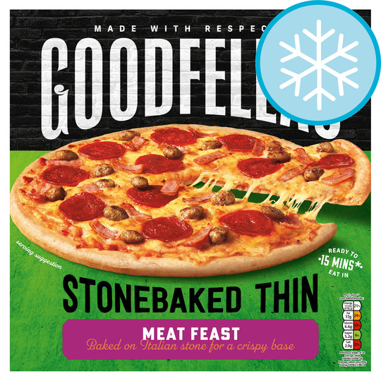 Goodfellas Stone Baked Thin Meat Feast Pizza 345G