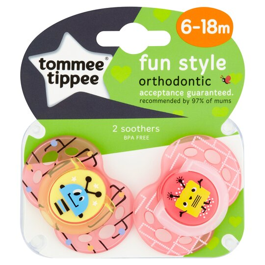 Tommee Tippee Closer To Nature Fun Soother X2 Clipstrip