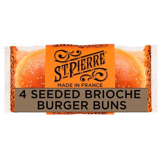 image 1 of St Pierre 4 Seeded Brioche Burger Buns