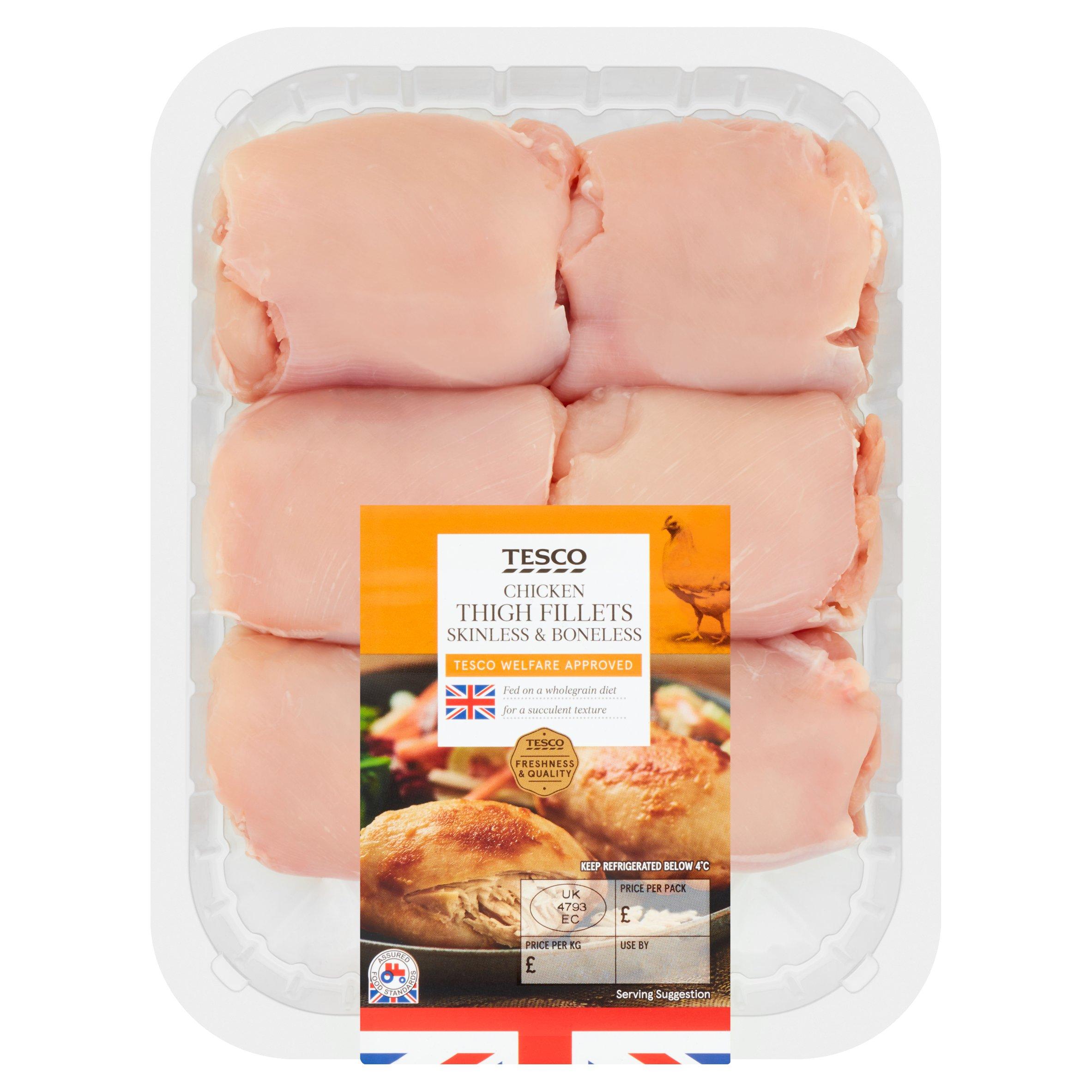 Tesco British Chicken Thigh Fillets 600G