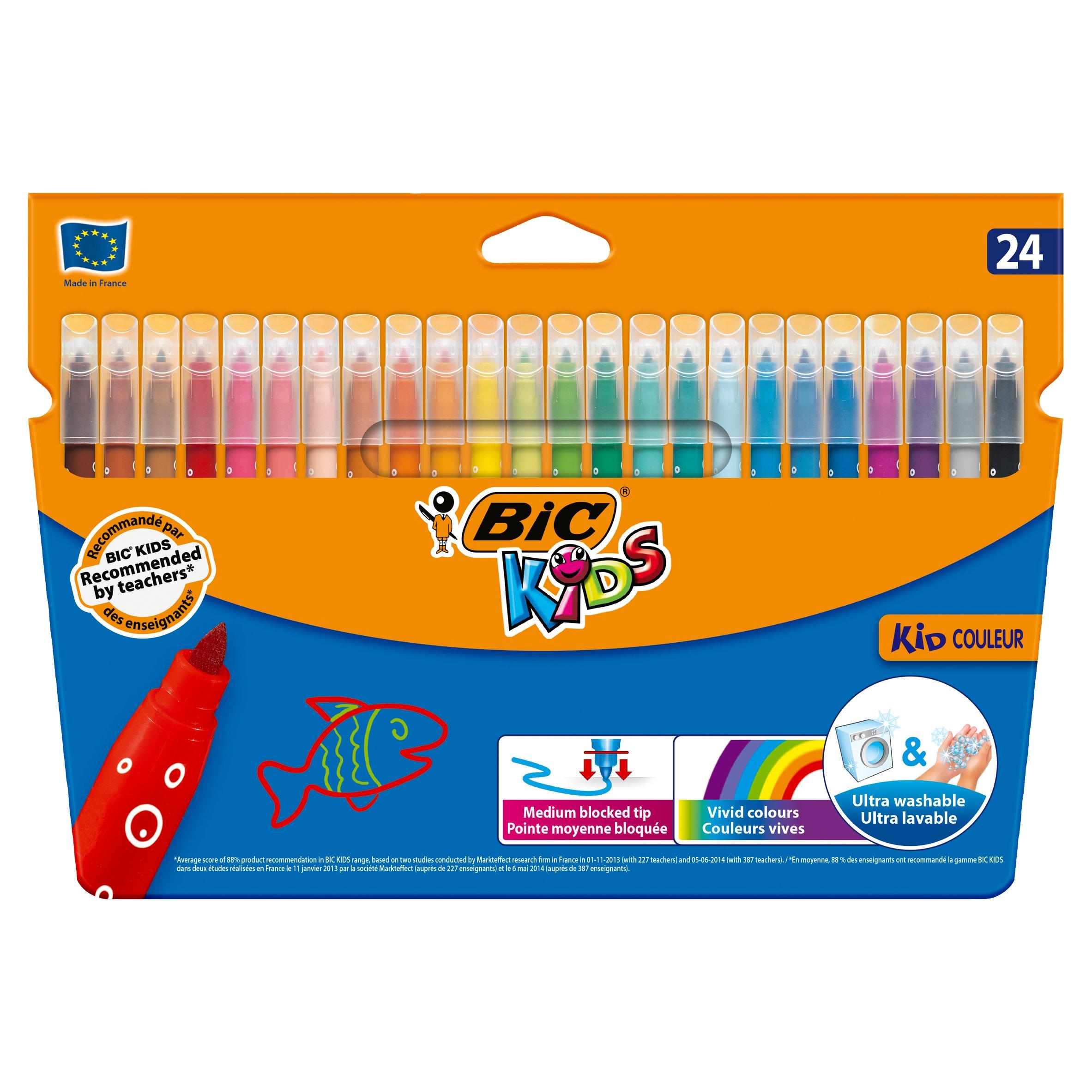 Box of 24 BIC Kids Visa Colouring Pens Blue
