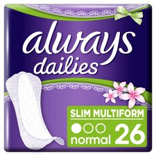 image 1 of Always Dailies Slim Multiform Fresh Panty Liners 26
