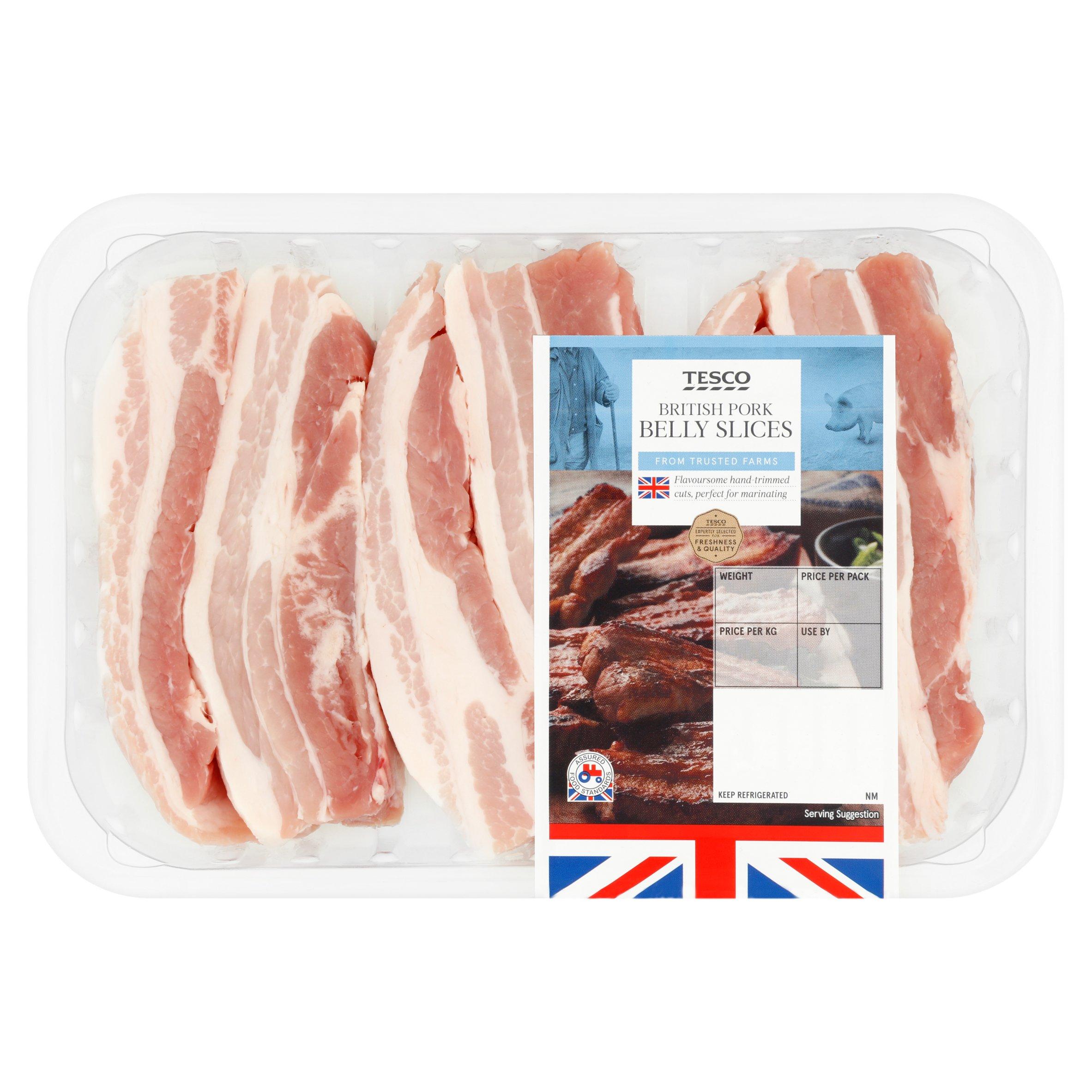 Tesco British Pork Belly Slices