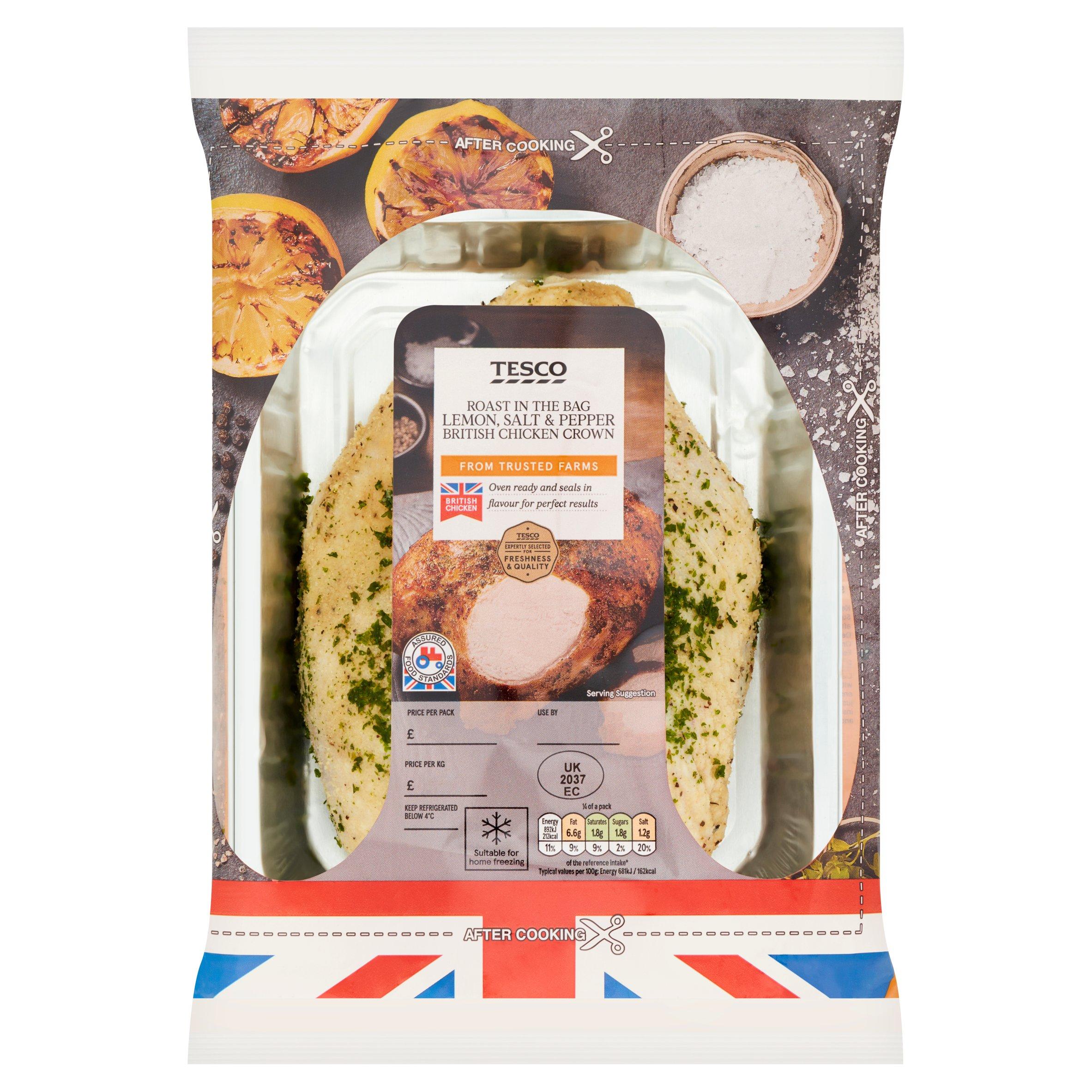 Tesco British Chicken Crown With Lemon Salt & Pepper 700G