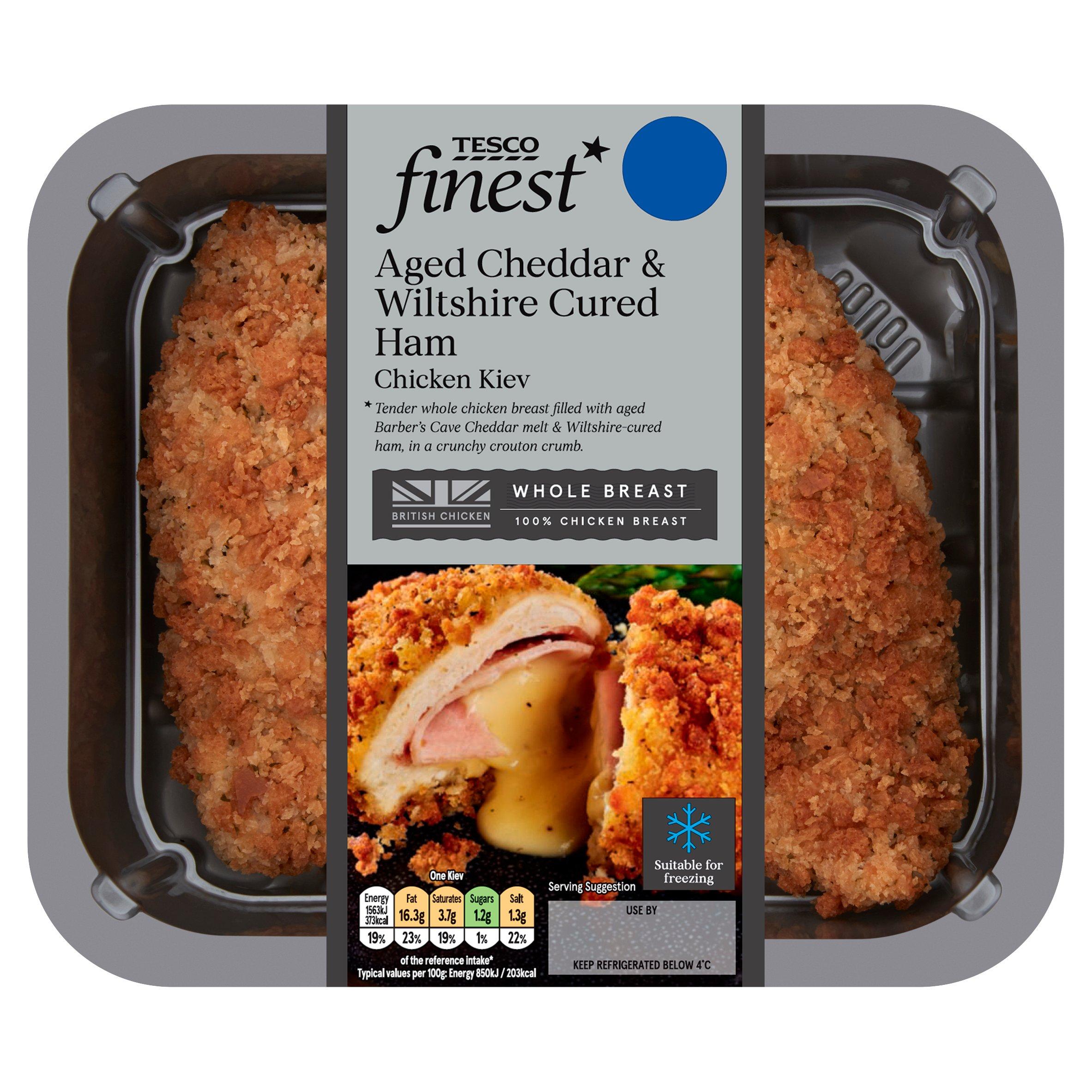 Tesco Finest Cheddar & Wiltshire Cured Ham Chicken Kiev 395G