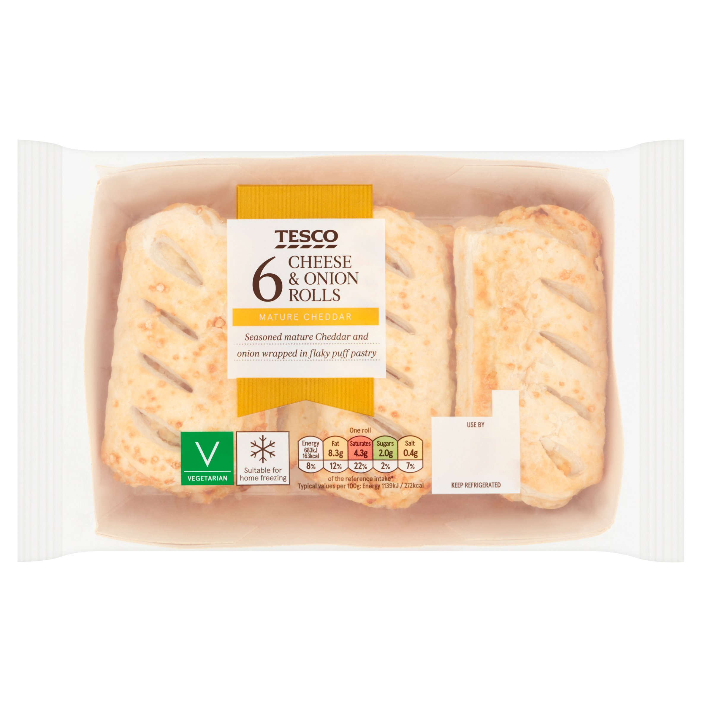 Tesco 6 Pack Cheese & Onion Rolls 360G