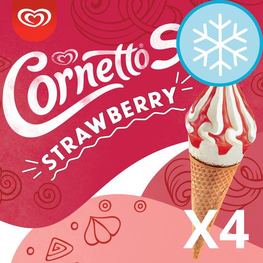 image 1 of Cornetto Soft Strawberry Ice Cream 4Pack 560Ml