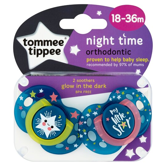 Tommee Tippee 18-36Mth Night Soothers 2 Pack