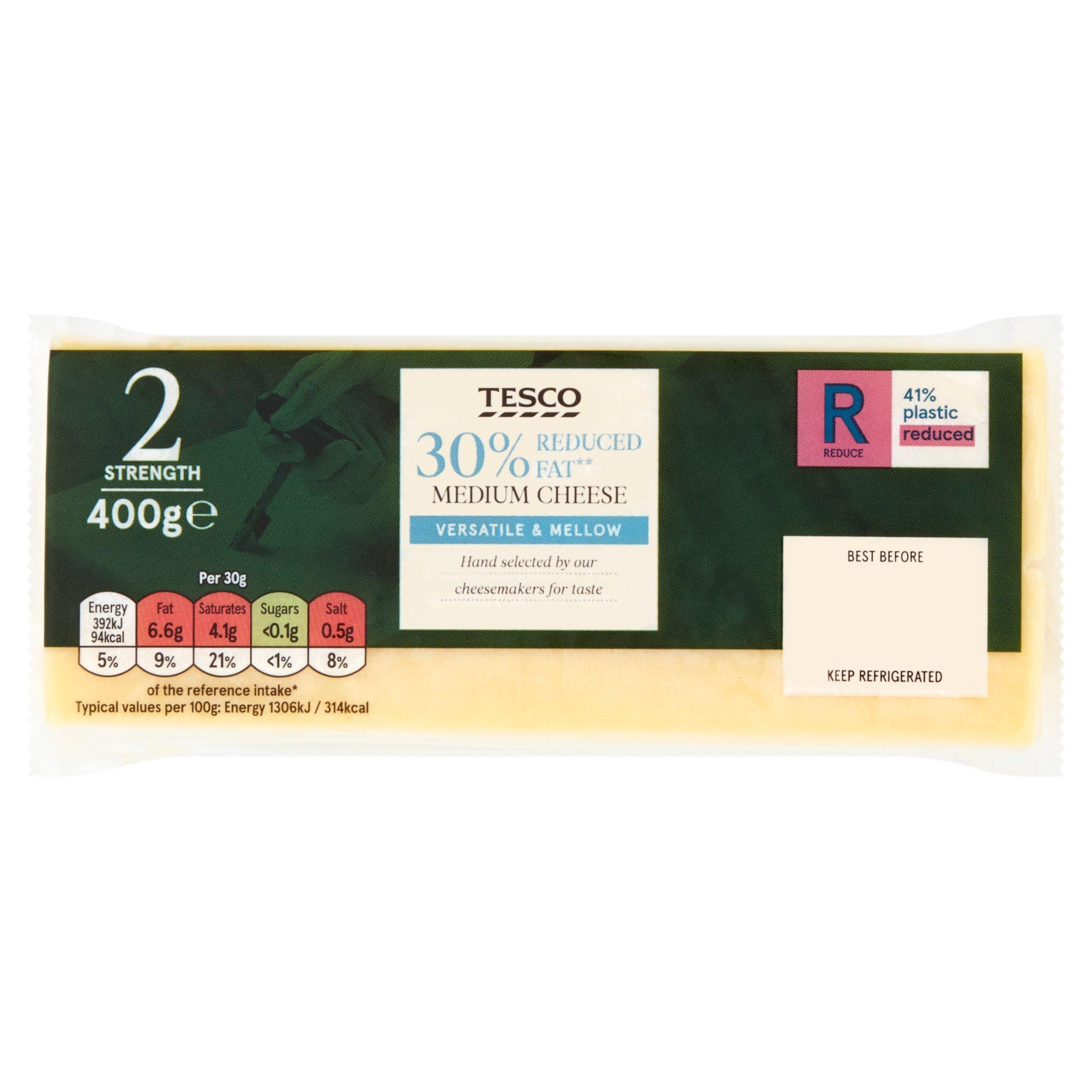 Tesco 30% Reduced Fat Medium Cheese 400G
