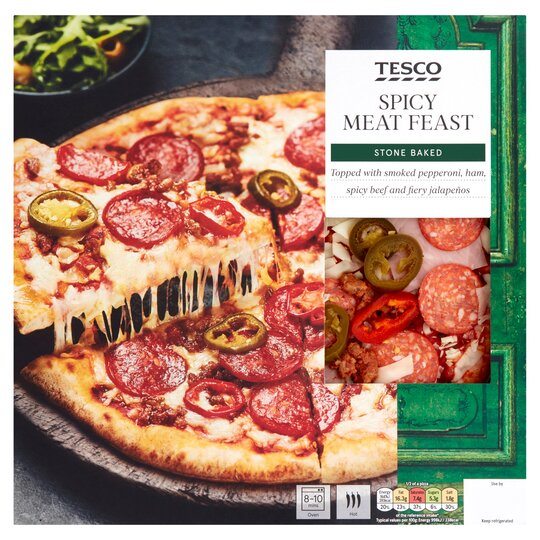 Tesco Stonebaked Spicy Meats Pizza 336g