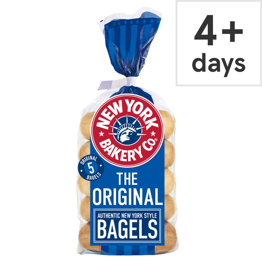 image 1 of New York Bakery Plain Bagels 5 Pack