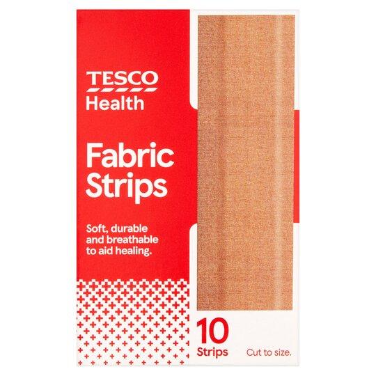 Tesco Fabric Dressing Strips 10'S 10 X 6Cm