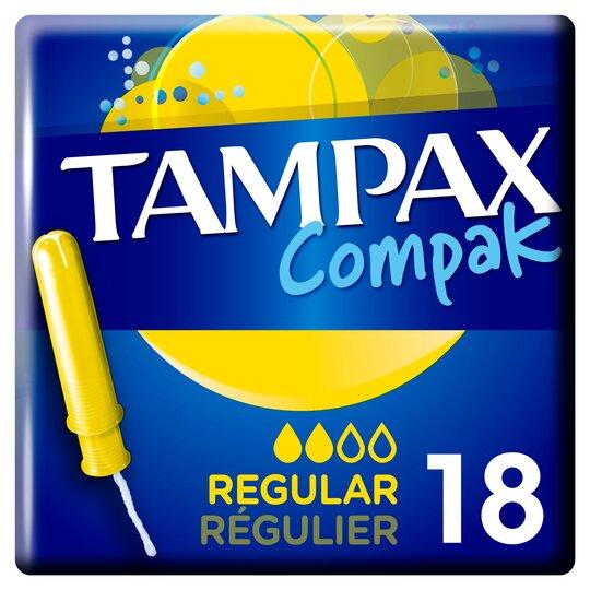 image 1 of Tampax Compak Regular Applicator Tampons 18