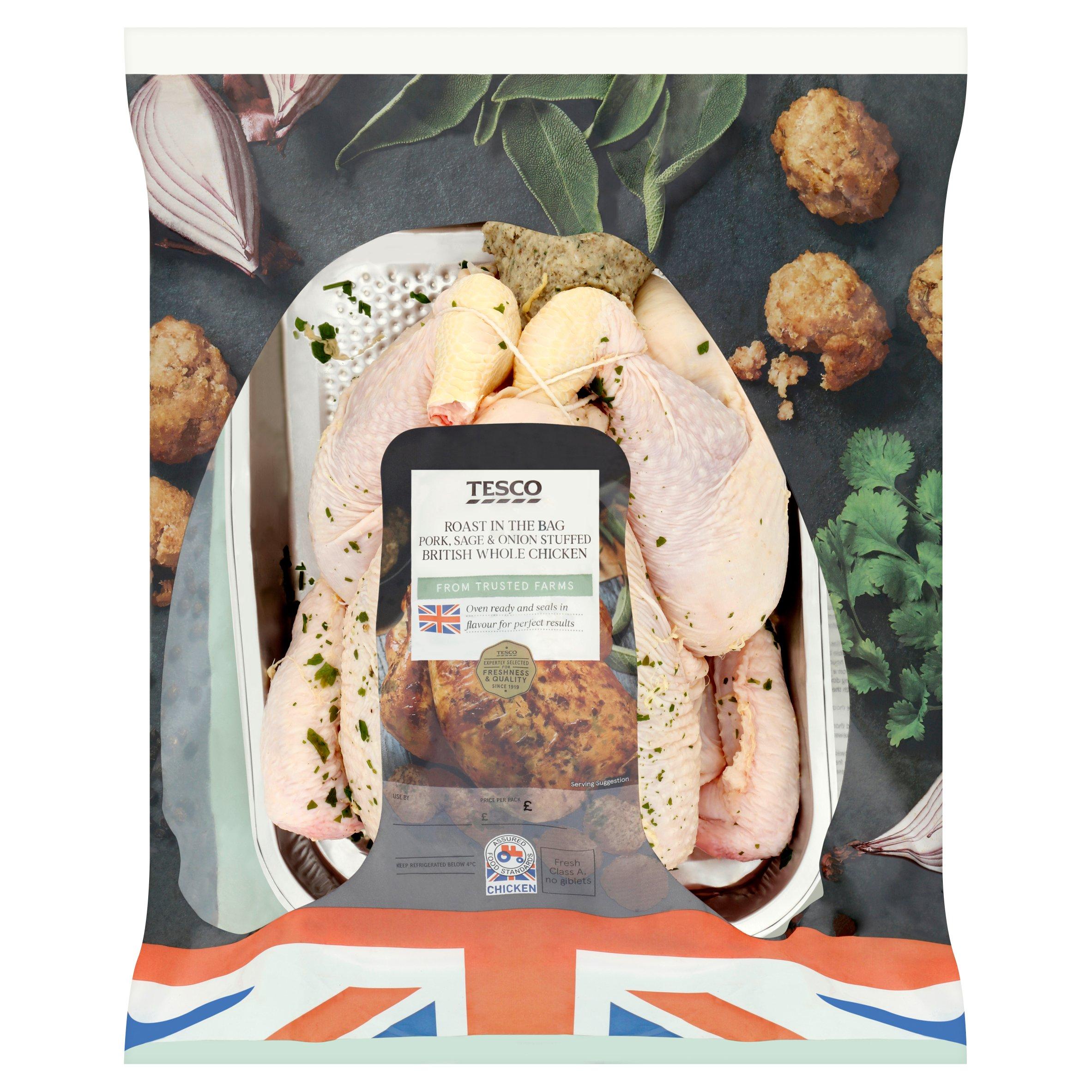 Tesco Roast In Bag Whole Chicken Pork Sage And Onion Stuffed 1.5Kg