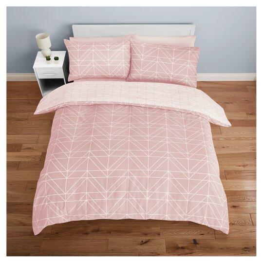 Tesco Pink Geo Duvet Set Double, Tesco Direct Double Bedding Sets