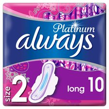 image 1 of Always Platinum Long Size 2 Sanitary Towels With Wings 10