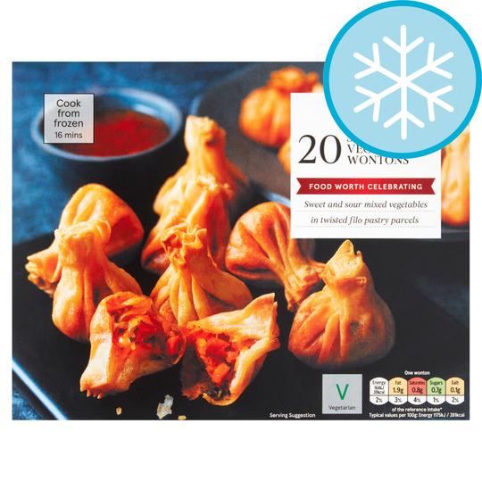 Tesco 20 Sweet Sour Vegetable Wontons 300g