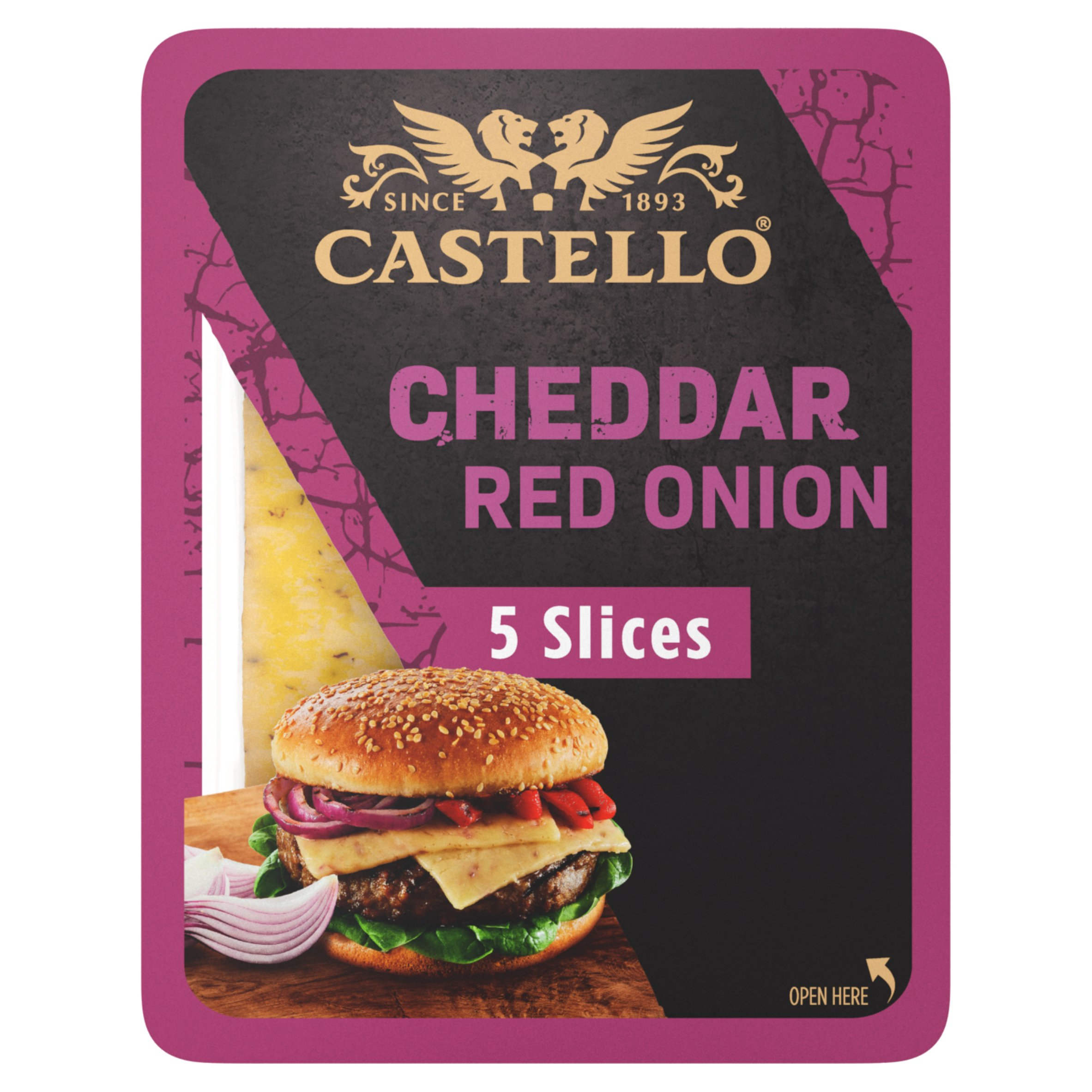 Castello Cheddar Cheese Slices With Red Onion 150G