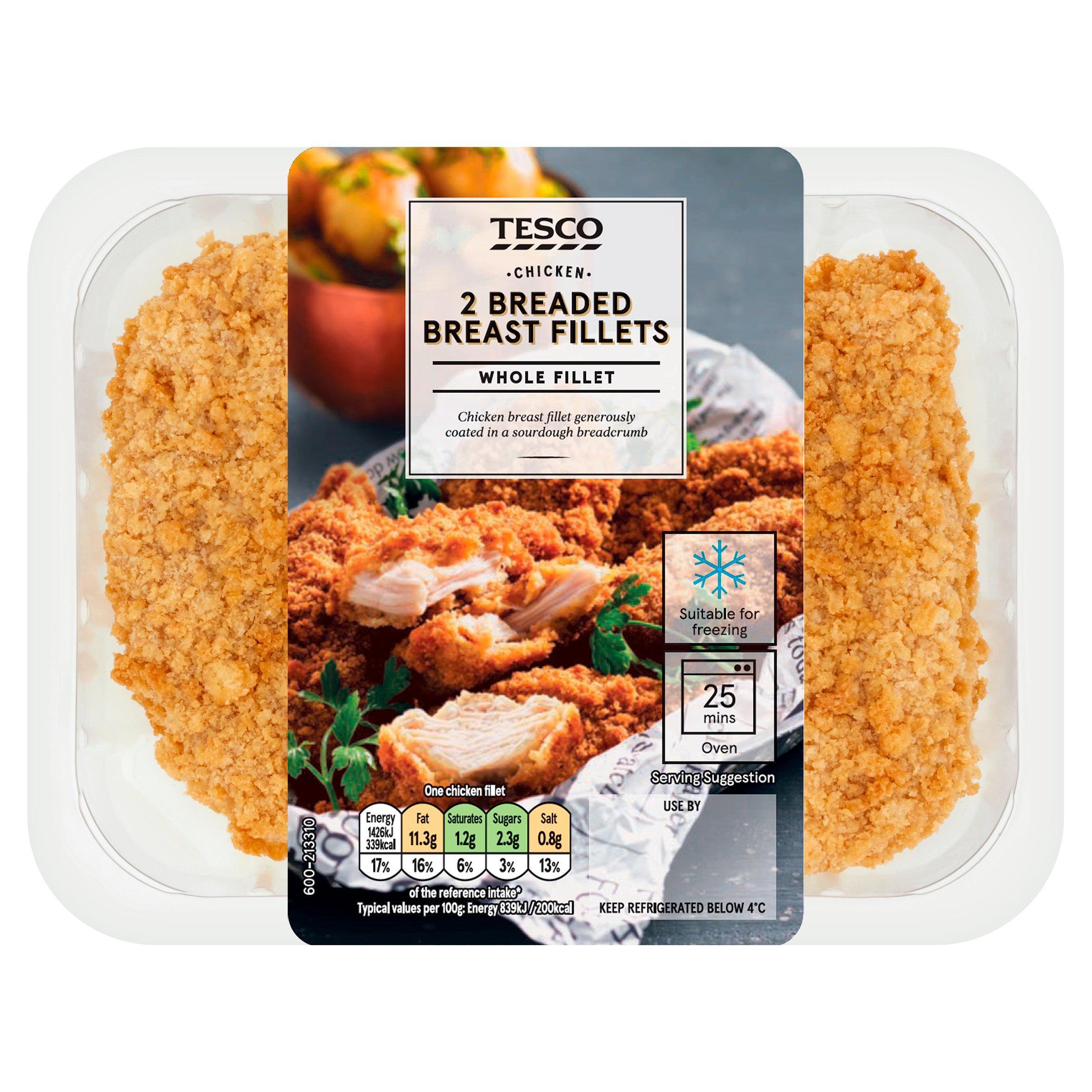 Tesco 2 Breaded Chicken Breast Fillets 350