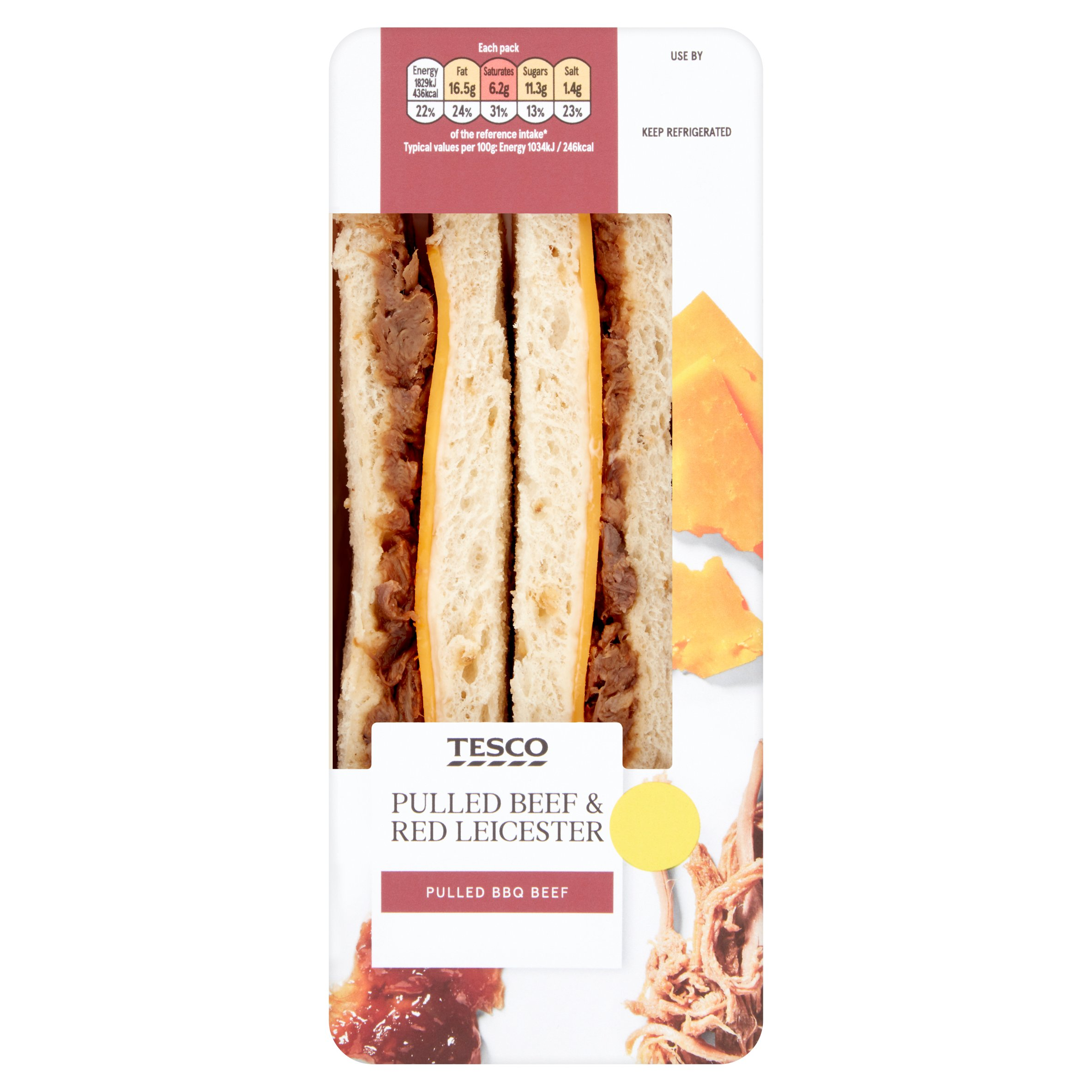 Tesco Pulled Beef & Red Leicester Sandwich
