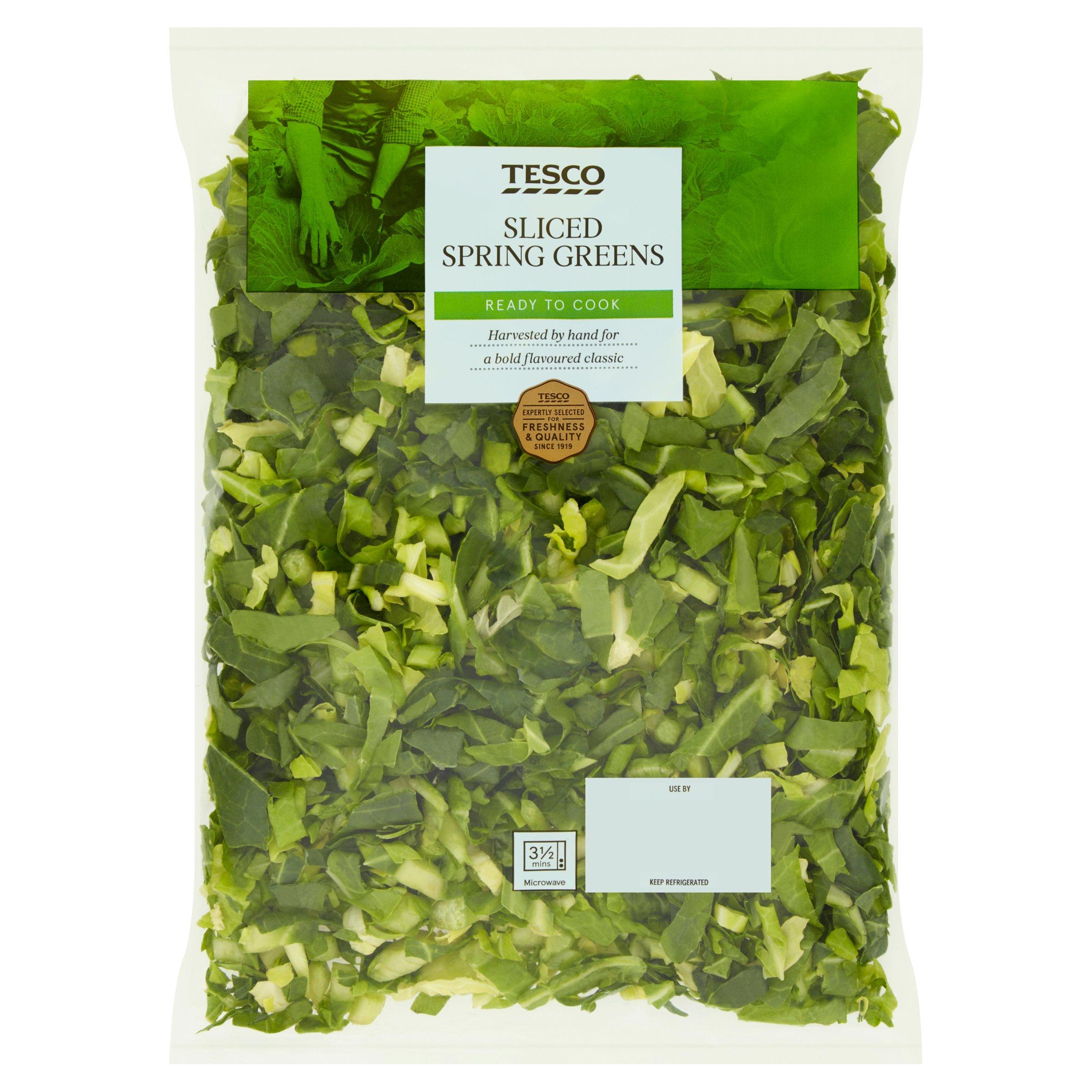 Tesco Sliced Spring Greens 240G