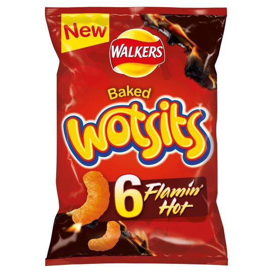 Walkers Wotsits Flamin Hot Snacks 6 X 16G