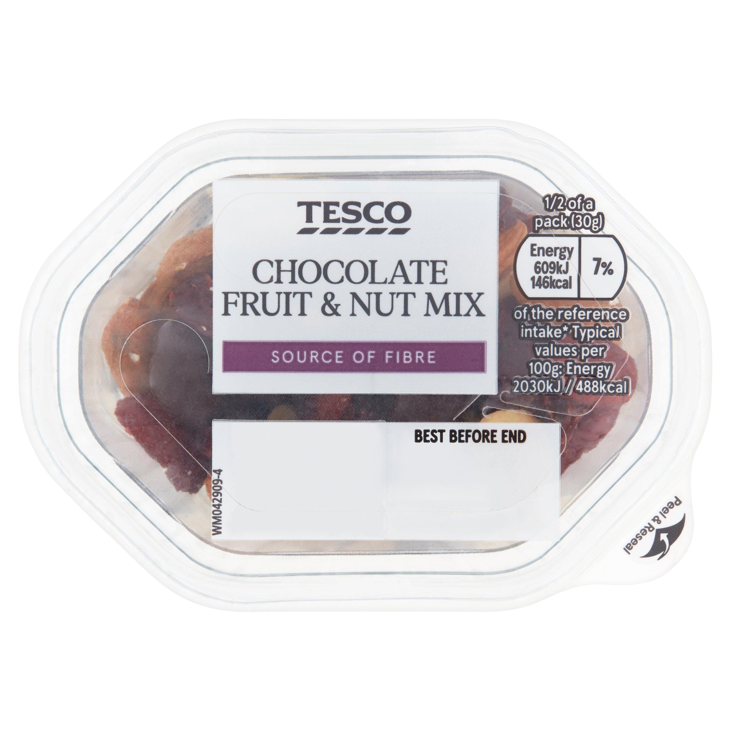 Tesco Chocolate Fruit & Nut Mix Snack Pack 60G