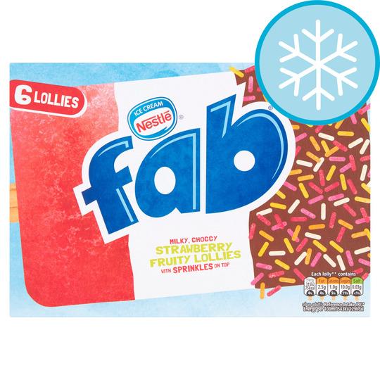Nestle Fab Strawberry Ice Lollies 6 X 58Ml