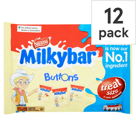 Milkybar Buttons Minis 12 Pack 189g Tesco Groceries