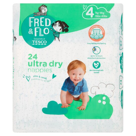 Fred & Flo 24 Ultra Dry Nappies Size 4