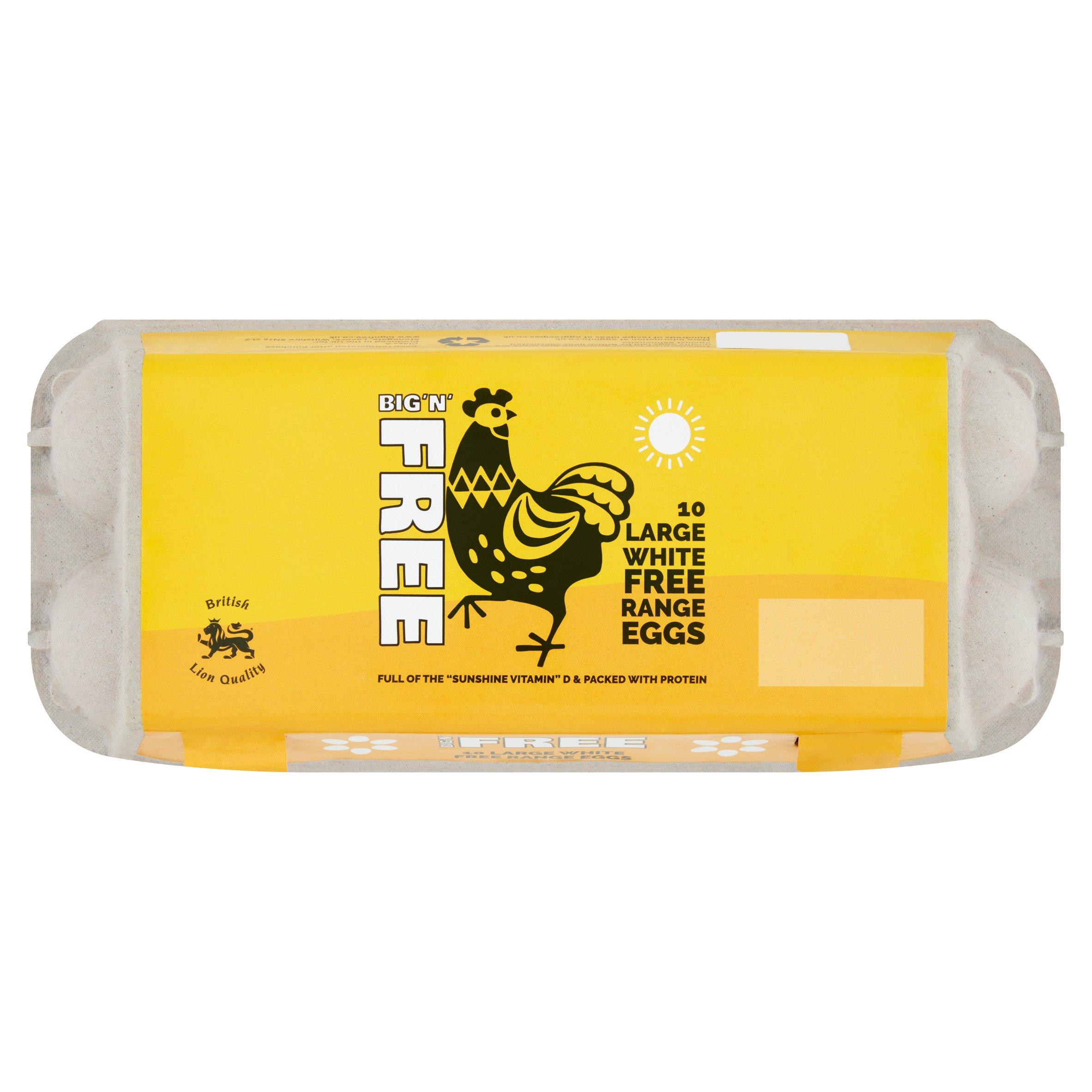 Big & Free Large White Free Range Eggs 10 Pack