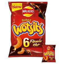 image 1 of Walkers Wotsits Flamin Hot Snacks 6 X 16G