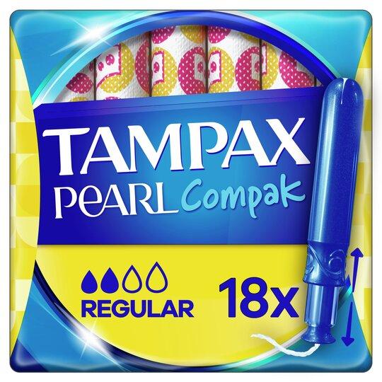 image 1 of Tampax Pearl Compak Regular Applicator Tampons 18
