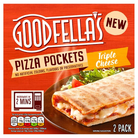 Goodfellas Pizza Pockets Triple Cheese 2 Pack 250g