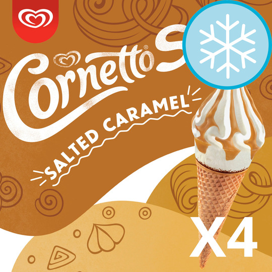 image 1 of Cornetto Soft Salted Caramel Ice Cream 4 Pack 560Ml