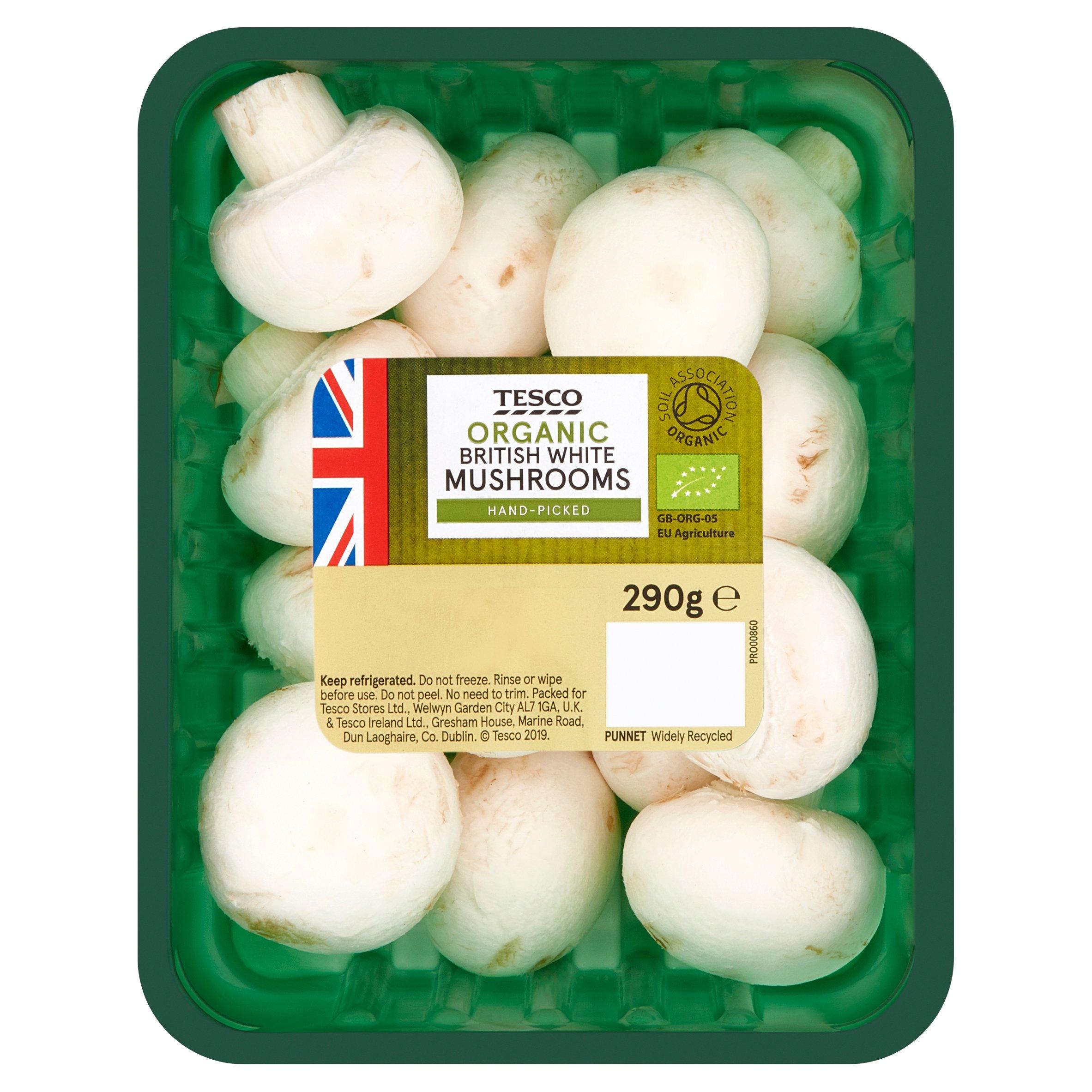 Tesco Organic White Mushrooms 290G