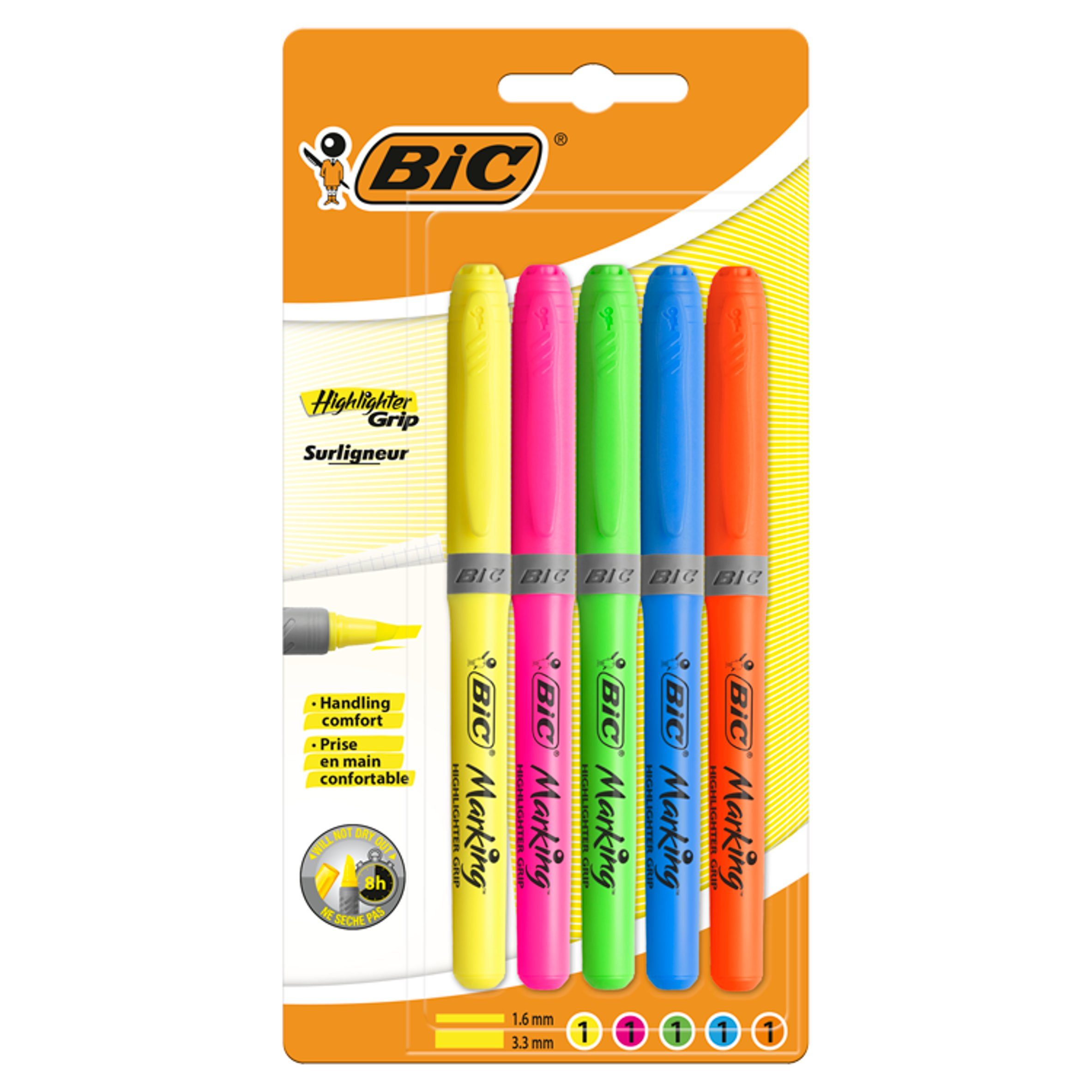 Pack of 4 Highlighter Pens Yellow Pink /& Green Highlighers Orange