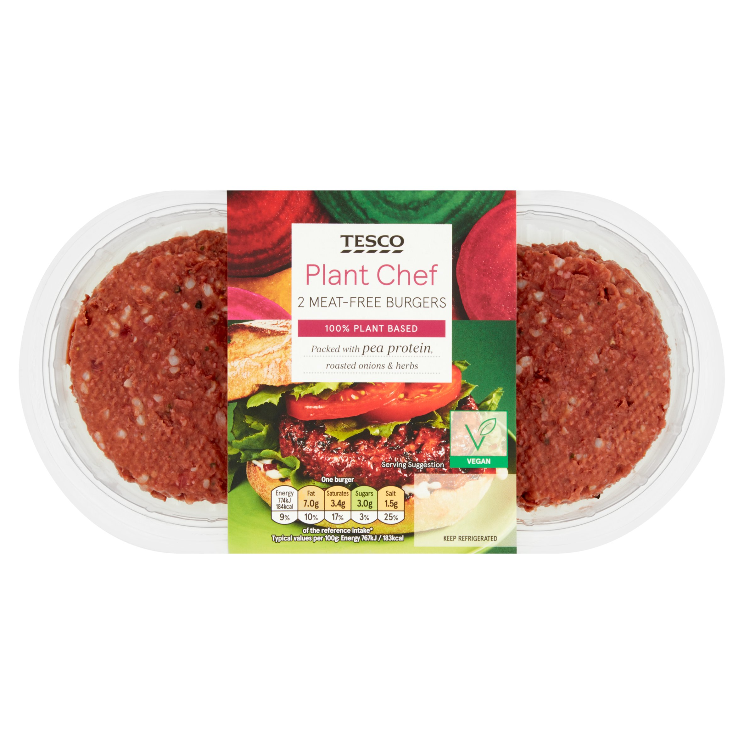 Tesco Plant Chef 2 Meat Free Burgers 226G