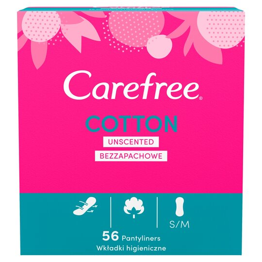 Carefree Cotton Panty Liners Unscented 56 Pack